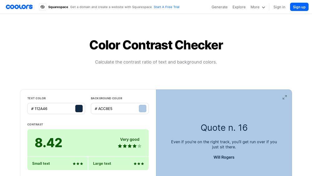 preview of Coolors Contrast checker