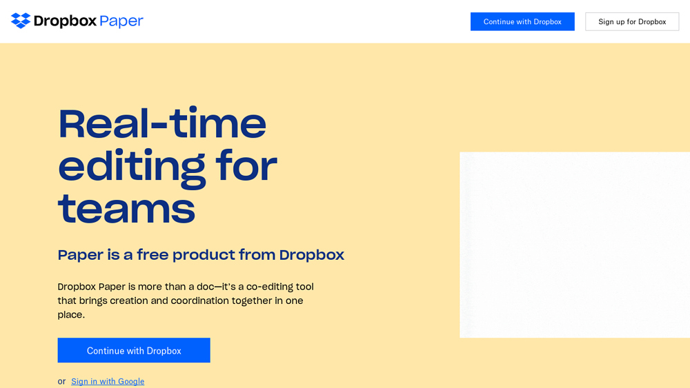 preview of Dropbox paper